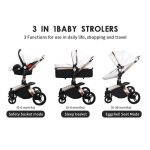 3 in 1 Pram Set Best Travel System Pushchair with Luxury Leather (13)