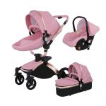 3 in 1 Pram Set Best Travel System Pushchair with Luxury Leather (2)