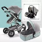Baby Pram 3 in 1 Travel System Pushchair with Car Seat (8)