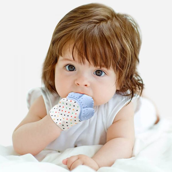 2 Packs Safe Silicon Baby Teething Mittens