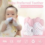 2 Packs Safe Silicone Baby Teething Mittens Teething Toy for Boys and Girls (4)