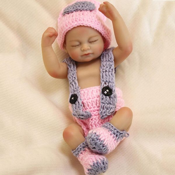 """10"""" Mini Silicone Baby Tiny Reborn Doll Girl with Pink Clothes"""