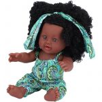 African American Reborn Dolls with Jumpsuits Vinyl Lifelike Baby Dolls for Kids