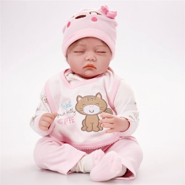 Sleeping Real Lifelike Baby Doll with Pink Clothes